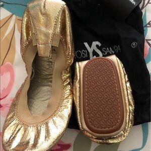 Yosi Samra Metallic Gold Shimmer Ballet Flat New